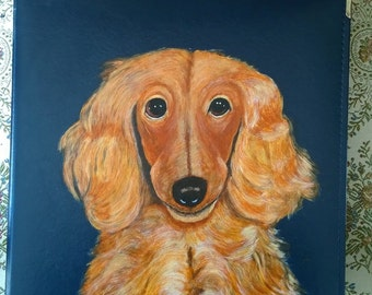 Dachshund Dachsie Long Haired Dog Hand Painted Photo Album / Scrapbook for Show Photos, Awards, Action Shots, etc.