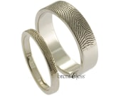 Custom Fingerprint Wedding Bands with Tip Prints on the Outside - Sterling Silver