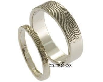 Custom Fingerprint Wedding Bands Set with Tip Prints on the Outside - Sterling Silver Fingerprint Rings