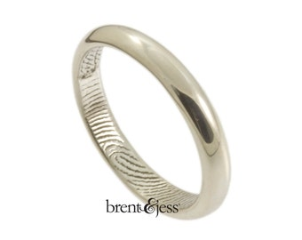 Traditional Low Dome Fingerprint Wedding Ring with Interior Wrap Print in Sterling Silver - 3mm Fingerprint Ring
