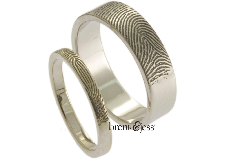 custom fingerprint wedding bands set with tip prints on the