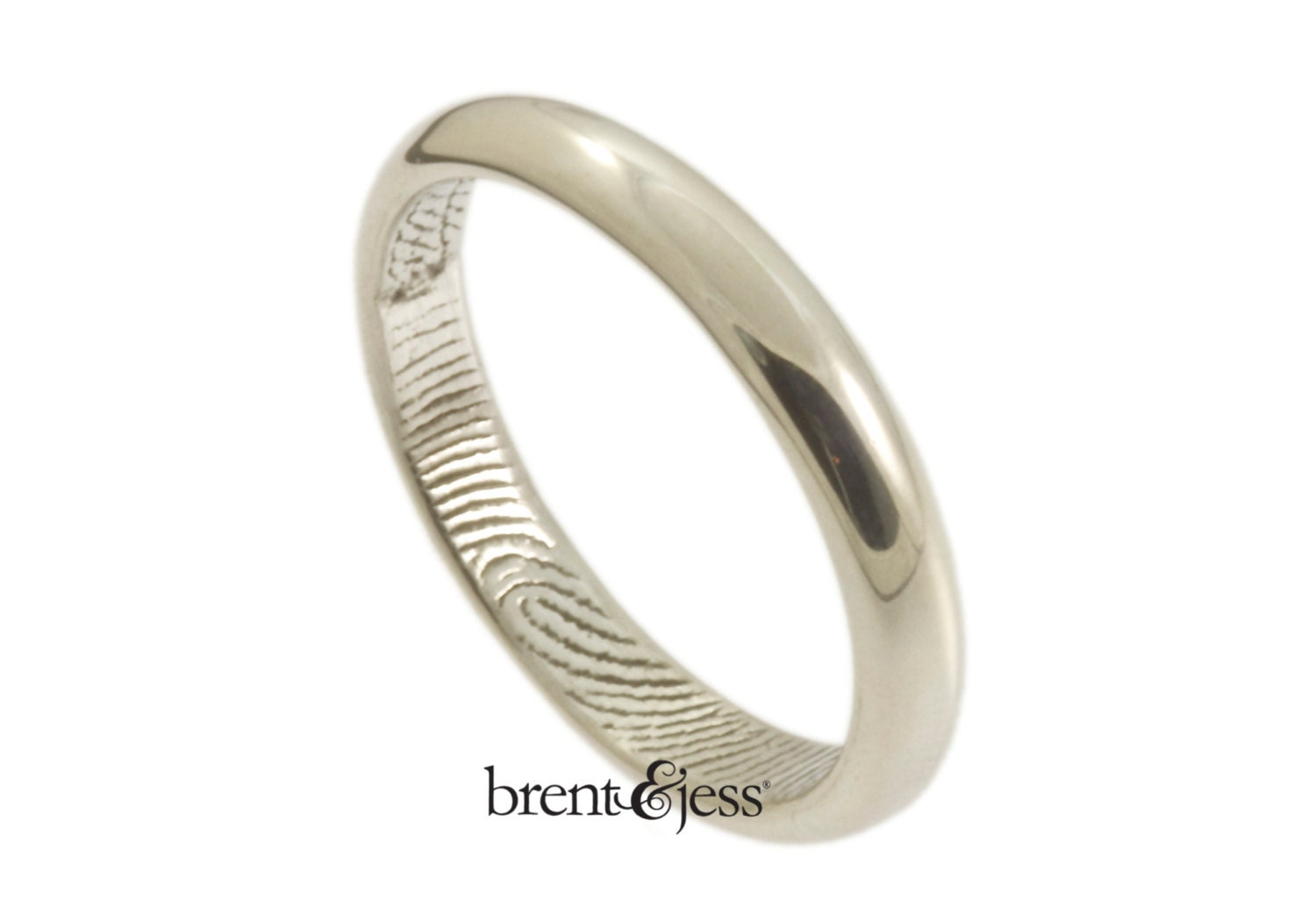Traditional Low Dome Fingerprint Wedding Ring With By Fabuluster