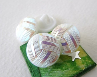 Vintage Czech Buttons White AB Aurora Borealis Glass Shank Knotted Woven Embossed 14mm but0208 (4)
