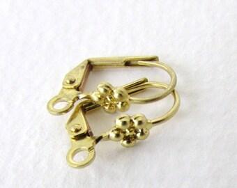 Raw Brass Earwires Vintage Style Flower Fancy Leverback 15mm erw0129 (10)