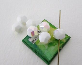 Vintage Swarovski Crystal Beads Chalk White AB Aurora Borealis Round 8mm swa0580 (6)