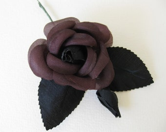 Vintage Millinery Flower Black Burgundy Plum Rose Leaves Fabric vml0043 (1)