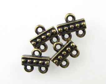 Antiqued Brass Ox Beaded 2 to 1 Connector Bar Link TierraCast Multi Strand Bronze Finding 10mm cnn0115 (4)