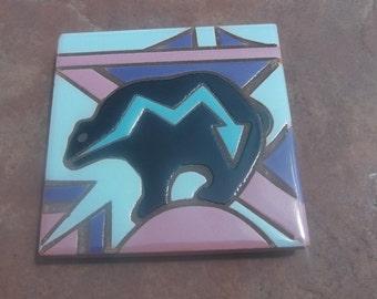 Mag Mor Studios Geometric Black Bear Tile