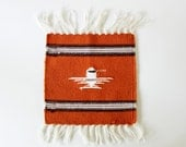 Free Bird - Vintage Mexican Woven Wall Hanging - Home Decor - Orange - Rust - Weaving - Textile - Mid Century