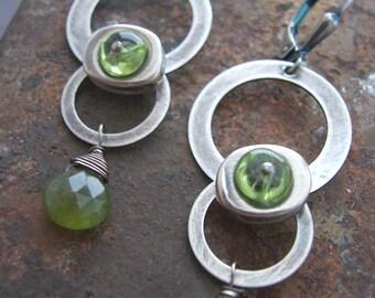Spaceship Earrings - Sci-fi Jewelry - Peridot Earrings - Sterling Silver Metalwork Earrings - Industrial Jewelry,  Green Gemstone Earrings