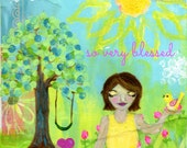 Meditation Art Print, Peaceful Woman with Heart and Bird, Flowers, Tree, Sunshine, Peaceful, Blessed, 8x10 Art Print