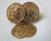 Gold tone Roman Coins scarf clip scarf keeper by Sarah Coventry with coin dangles