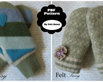 PDF Mitten Pattern - Two styles and customize size for making felted sweater mittens