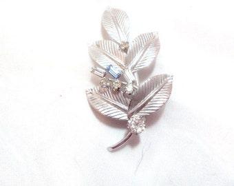 Sterling Silver Carl Art Leaf Pin with Rhinestones