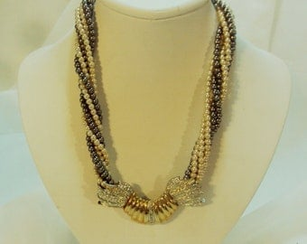 Cream & Gray 6 Strand Twisted Faux Pearl Necklace Fancy Rhinestone Clasp
