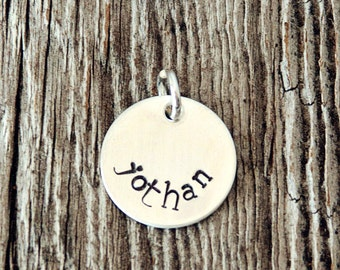 Circle Sterling Silver Charm (5/8 Inch), Custom Necklace Charm, Stamped Necklace Charm, Round Charm