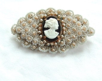 Vintage Handmade Seed Bead Cameo Brooch White Antique Jewelry Beaded Brooch