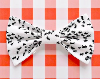 AS IS Hair Bow Ants Hair Bow Clip Barrette Hairbow Picnic Ants Marching Parade Black and White Hair Bows Summer Park Beach Picnic Kitsch