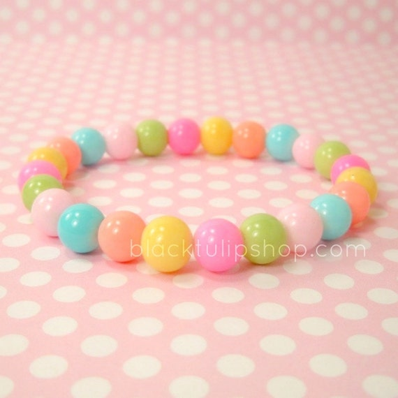 """7"""" Cute Stretch Stacking Bracelet Pastel Candy Colored Glass Beads Fairy Kei Sweet Lolita Jewelry"""