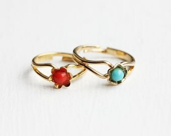 Sample Sale - Gold Flower Dot Ring - Red, Blue, Tan, Black