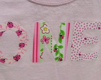 ONE Pink Lady Bug T Shirt for Birthday Girl Flowers Gift T Shirt Toddler Custom Orders Welcome