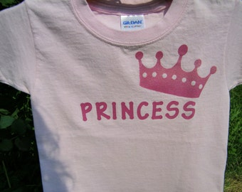 Princess Pink Glitter Crown T Shirt for Birthday Girl Gift T Shirt Toddler Custom Orders Welcome