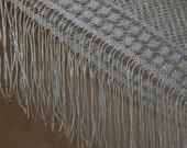 White Flapper Wrap - Square Knit Shawl