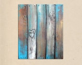 reserved for Michelle - customized heart -- rustic faux wood fence original PAINTING art- personalized with your names or initials