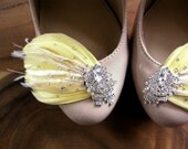 Stardust Feather and Rhinestone bridal shoe clips YOU CHOOSE the COLOR
