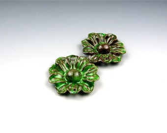 Enameled Daisy / Peacock Green Enamel / Made to Order