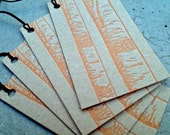 Orange Birch Trees letterpress on chipboard gift tags - 4 pack