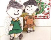 RaRe  1950s PeaNuTS LuCY and VioLeT HaND SeWN FeLT ORNaMeNTS
