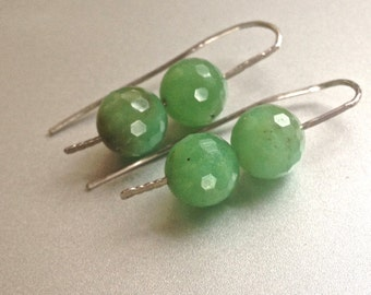 Faceted Chrysoprase Gemstone Tribal Earrings Hammered Sterling Silver