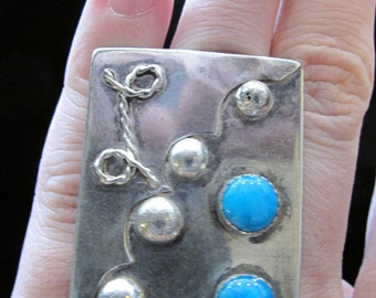 Signed one-of-a-kind modernist abstract art ring with turquoise size 4