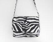Messenger bag zebra print vegan cross body shoulder bag lined handmade