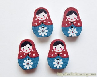 Wooden Buttons, Printed Color - Nordic Blue and Red Floral Matryoshka Nesting Doll Russian Doll (4PCS)