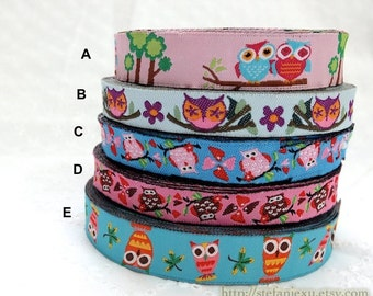 1 Yard Embroidery Sewing Ribbon/Trim - Lovely Standing Big Eye Floral Hoot Owls Collection