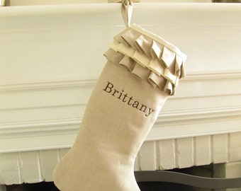 Personalized Linen Christmas Stocking Embroidered Ruffle Monogram Better Homes and Gardens