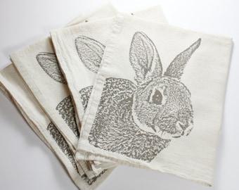 Fuzzy Bunny Napkins in Deep Khaki, Rabbit Napkins - Hand Printed Flour Sack Tea Towel (unbleached cotton)