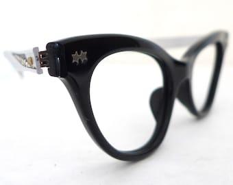 Cat Eye Glasses Two Tone Vintage 60s NOS Black CatEye Glasses Frame Aluminum Combination Eyeglasses. Sunglasses. Designer. on sale
