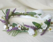 Lavender fields greenery floral crown silk flowers artificial Hair Wreath Wedding Accessories purple rustic flower girl halo Bridal garland