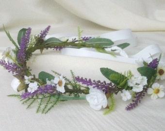 Lavender fields greenery floral crown silk flowers artificial Hair Wreath Wedding Accessories purple rustic flower girl halo Bridal garland