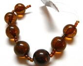 18mm Round Ice Flake Resin Translucent Amber Brown Blue Moon Beads - 7 pieces