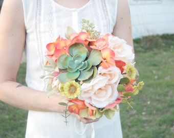 Wildly Beautiful Succulents and Flowers Bouquet for Brides or Bridesmaids
