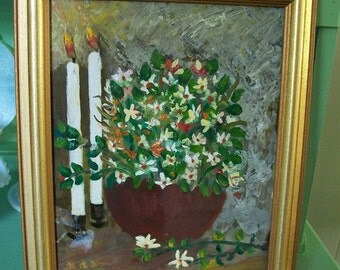 Primitive Christmas Painting Still Life Oil Painting in Gold Frame Candles and Flowers