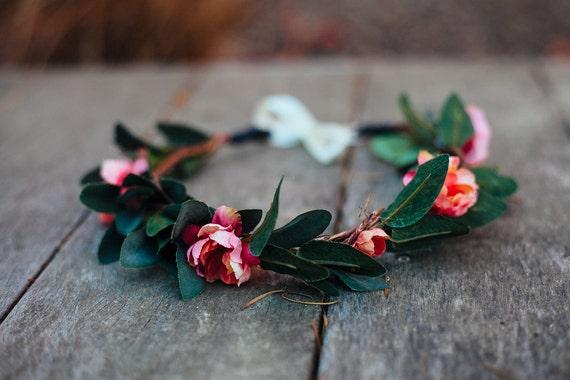 SWEET PINKS Wedding Flower Hair Crown, Bohemian Hair, Goddess Headdress, Leaf Crown