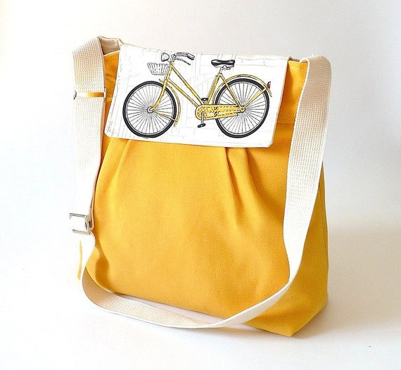 RESERVED CASSY // Yellow  Diaper bag / Messenger bag / Travel bag /Shoulder Bag with Bike flap - 10 pockets