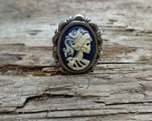 Adjustable Ivory On Blue She Skull Ring