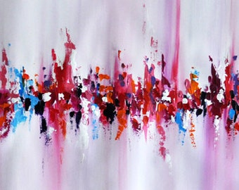 """Original Abstract Painting Palette Knife Art, White Pink Painting UNSTRETCHED Rolled in a tube 13x39"""""""