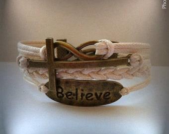 Infinity Cross Infinity Bracelet, Faith Bracelet, Charm Bracelet, Friendship bracelet